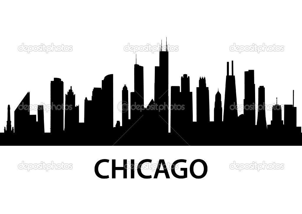 MURAL!chicago skyline outline.