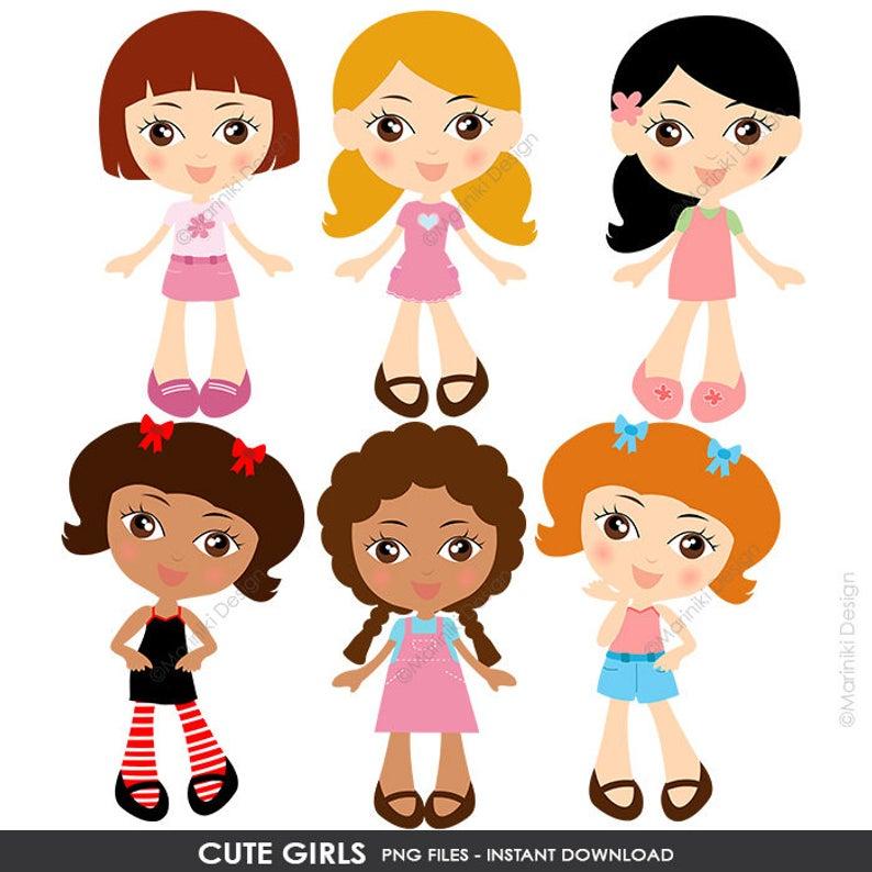 Cute Girls Clipart, Little Girls Clip Art, Children Clipart, Pretty Girls  Character Scrapbook Invitations INSTANT DOWNLOAD CLIPARTS C119.