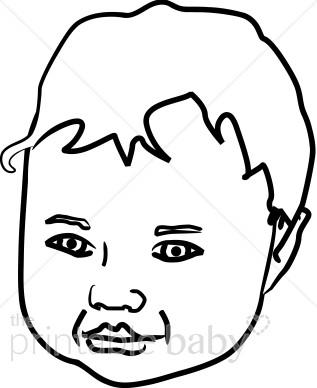 Child's Face Outline Clipart.