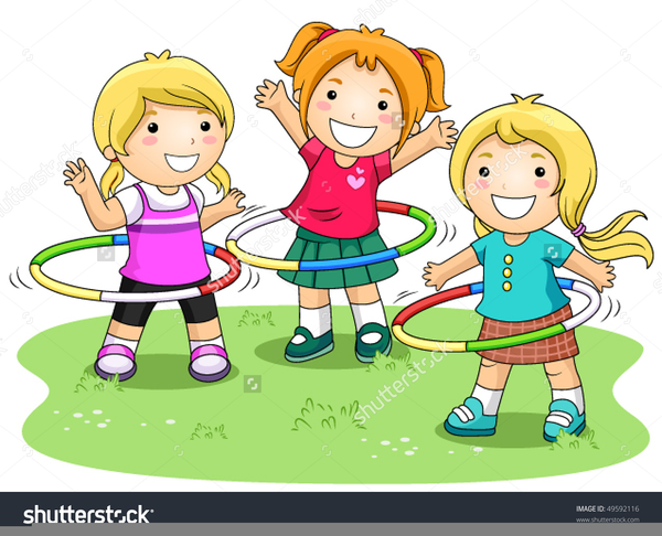 Black White Clipart Children Playing.