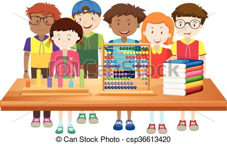 Children learning at school.