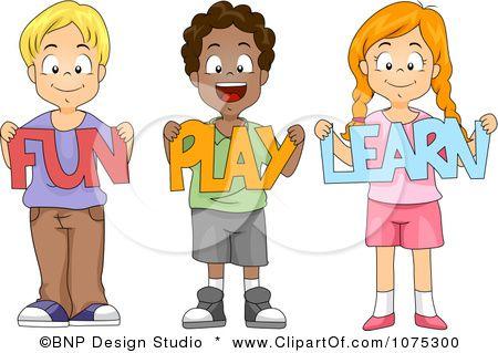 Clipart Cute Diverse School Children Holding Fun Play Learn Paper.