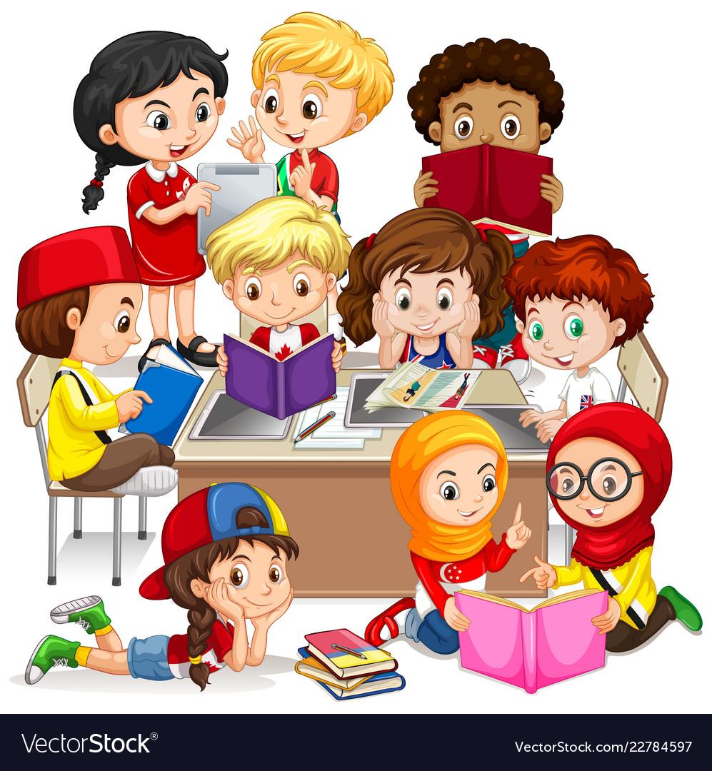 Group of international children learning.