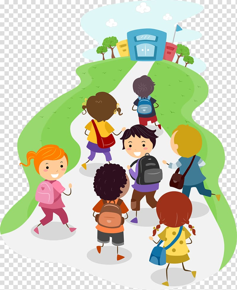 Children running towards school illustration, School , school.
