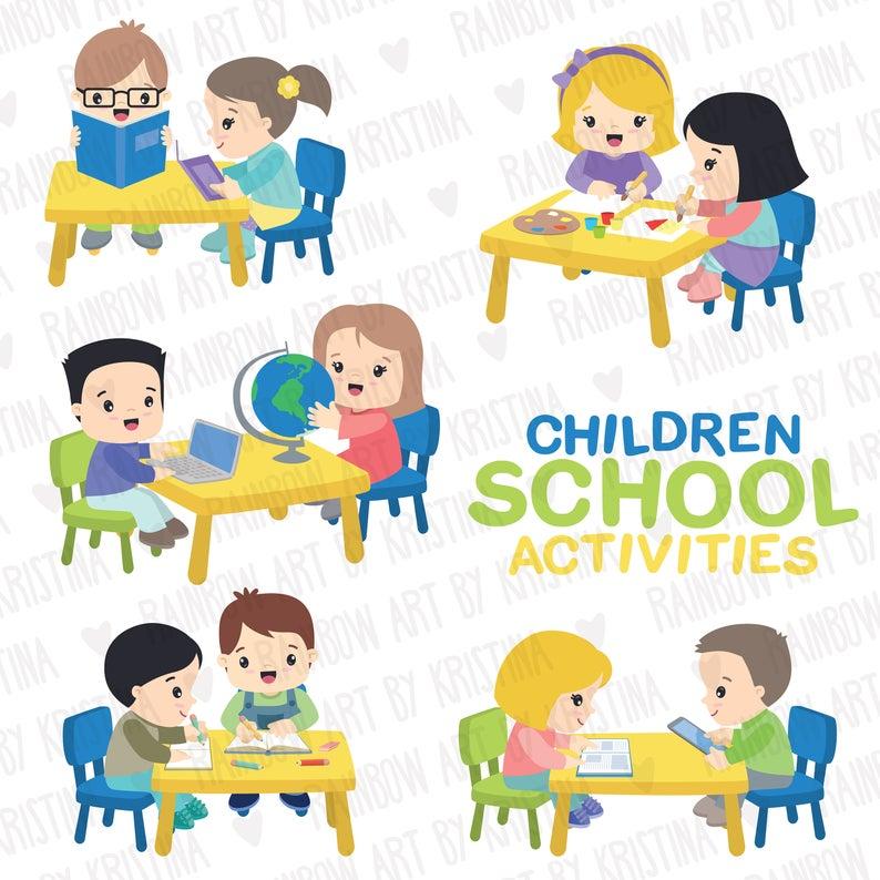 School children activities clip art, Kids studying clipart, Children in  centers, Stationery, Teacher clipart, Transparent Kawaii kids.