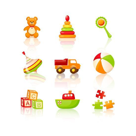 Colourful Children'S Toys Icons Art Print by Rainledy.