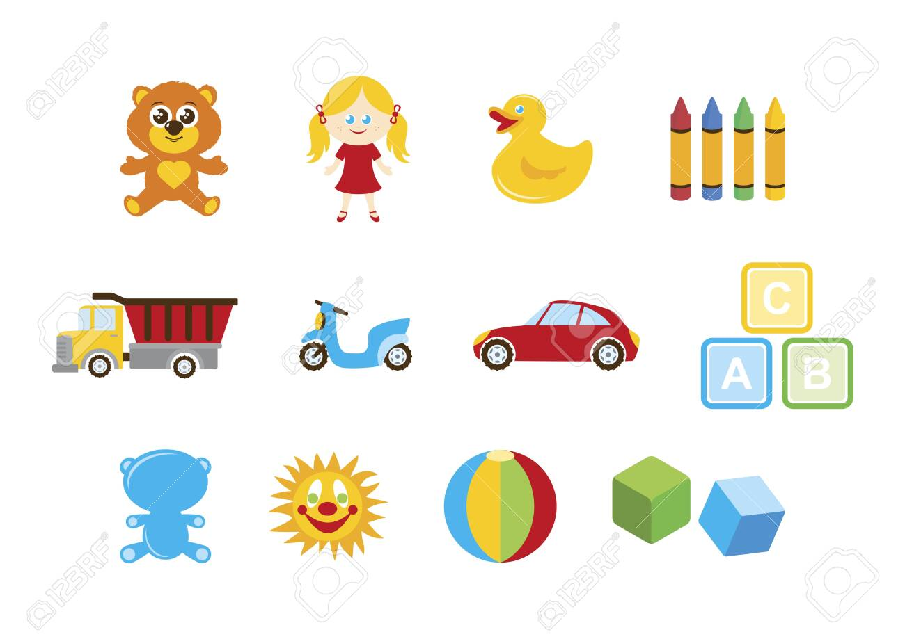 Different toys for kids icon set vector. Toys for boys and girls...