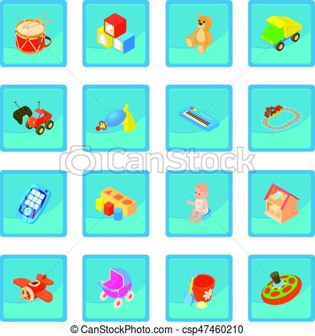 Childrens toys icon blue app.