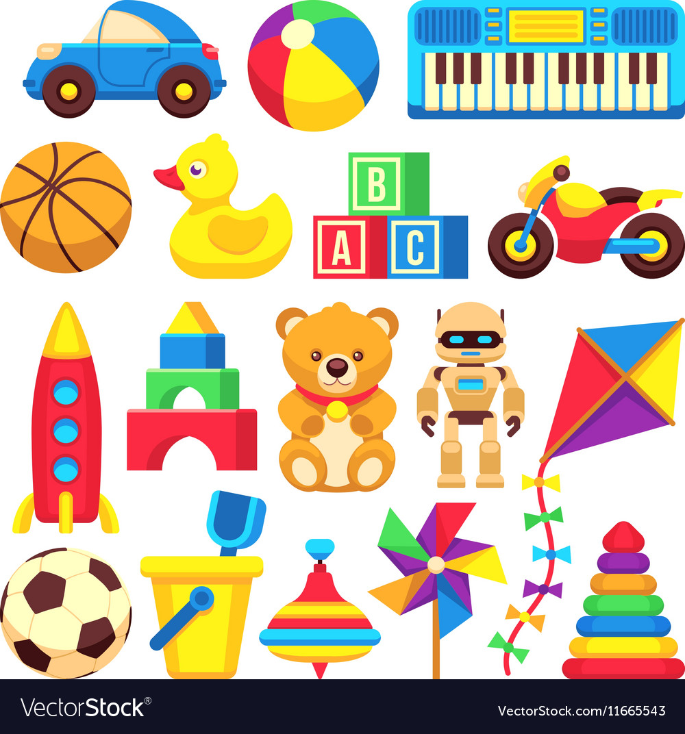 Cartoon children toys icons isolated on.