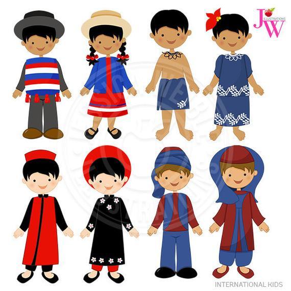 International Kids Cute Digital Clipart, Chile Kids, Samoa Kids.