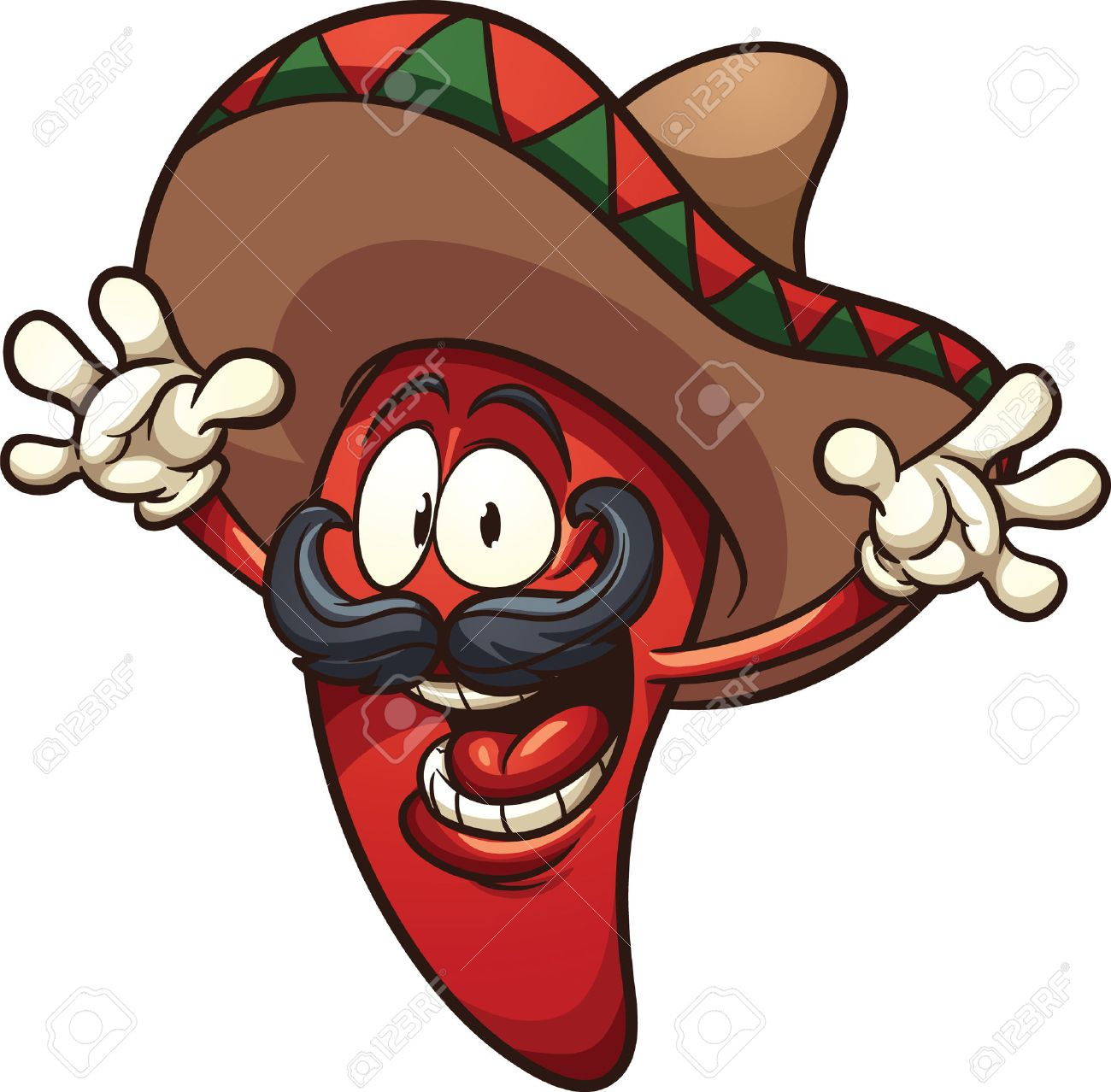 Happy Mexican chili pepper. Vector clip art illustration with...