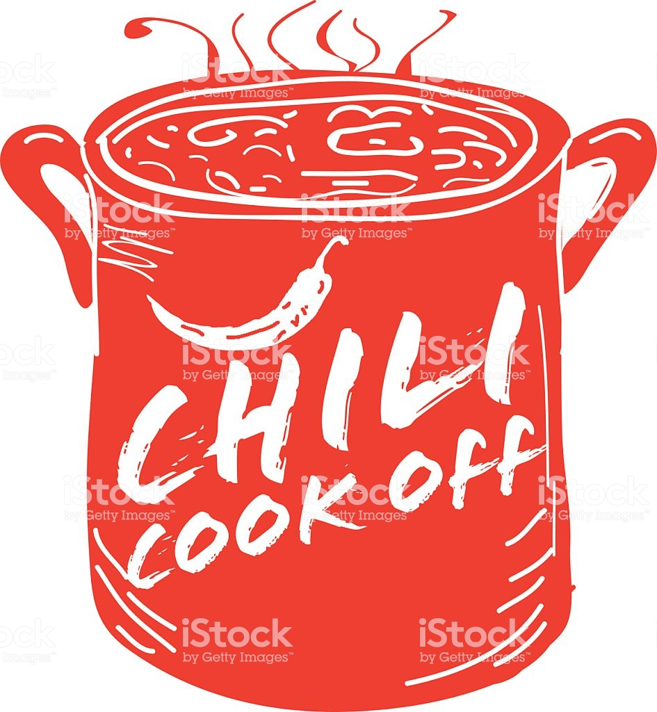 Cute Red Chili Pot Cookoff Event Icon Design Stock Illustration.