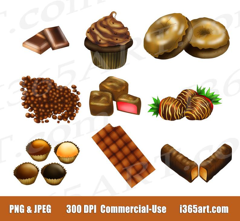 50% OFF Chocolate Clipart Clip art, Chocolate Candy, Sweets, Food, Bars,  Choco, Digital, Scrapbooking, Invitation, PNG, Commercial.