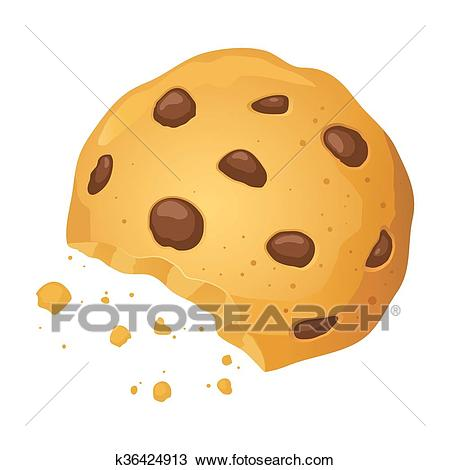 Chocolate Chip Cookies With Bite Mark Vector Illustration Clipart.