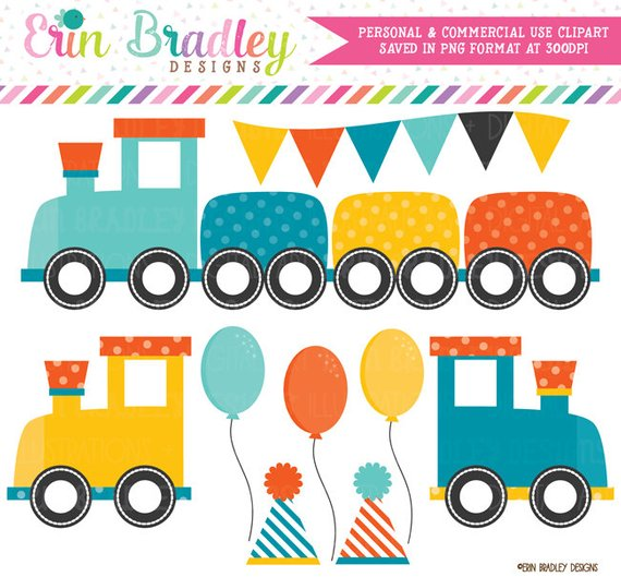 Boys Train Choo Choo Party Clipart Clip Art Personal & Commercial.