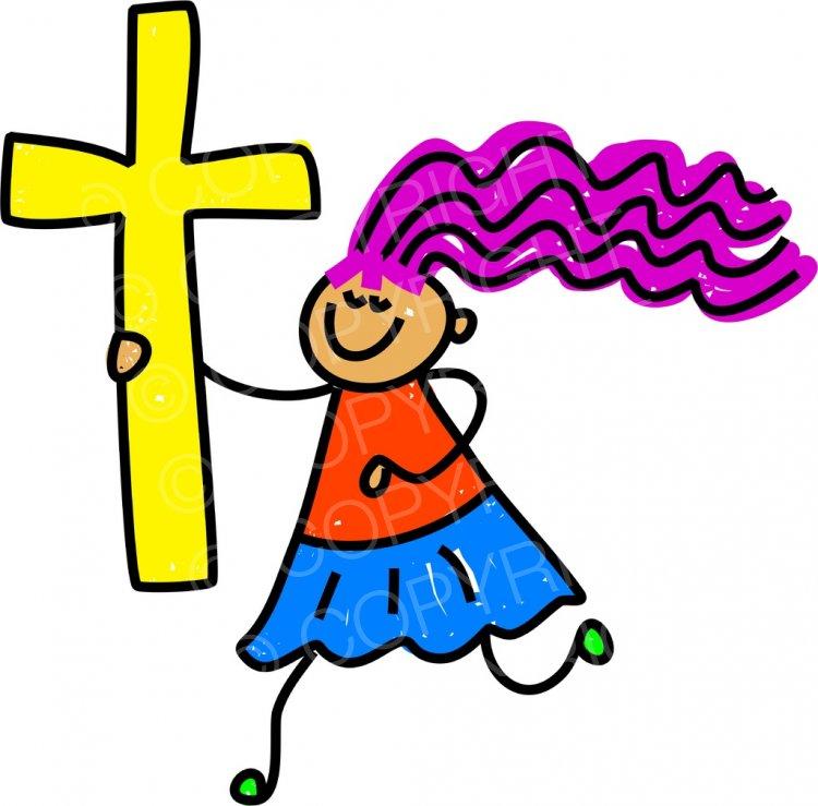 Toddler Art Christian Cross Kid Prawny Clipart.