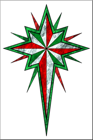 Clip Art: Religious: Christmas Star 3 Color1 I abcteach.com.