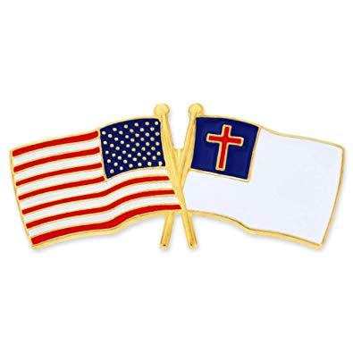 PinMart USA and Christian Crossed Friendship Flag Enamel Lapel Pin.