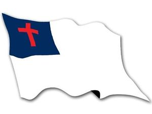 Details about 3x6 inch Waving Christian Flag Sticker.