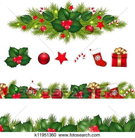 Christmas Borders Set With Xmas Garland Clipart.