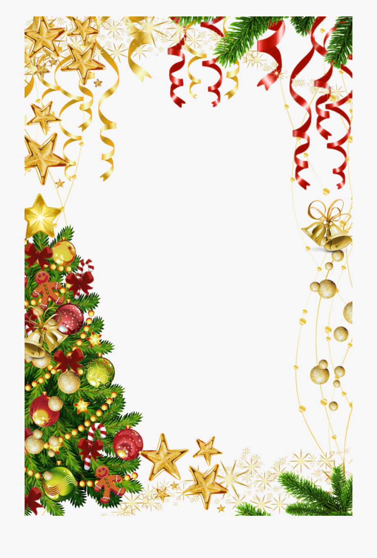 Transparent Christmas Photo Frame With Christmas Tree.