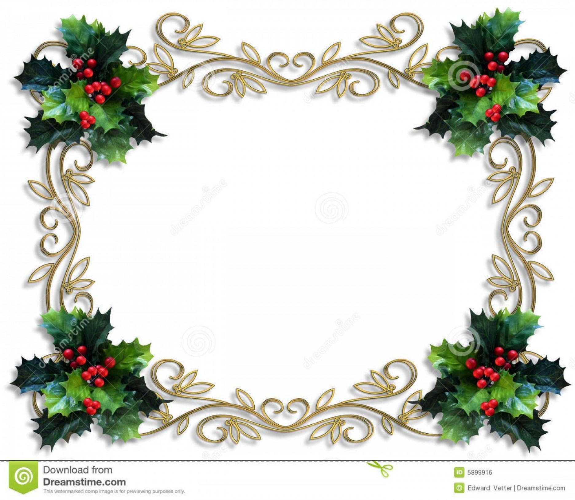 Royalty Free Stock Image Christmas Border Holly Gold Frame Image.