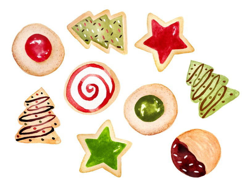 Christmas clipart, christmas cookies clipart, cookies clipart, baking  clipart, bakery clipart.