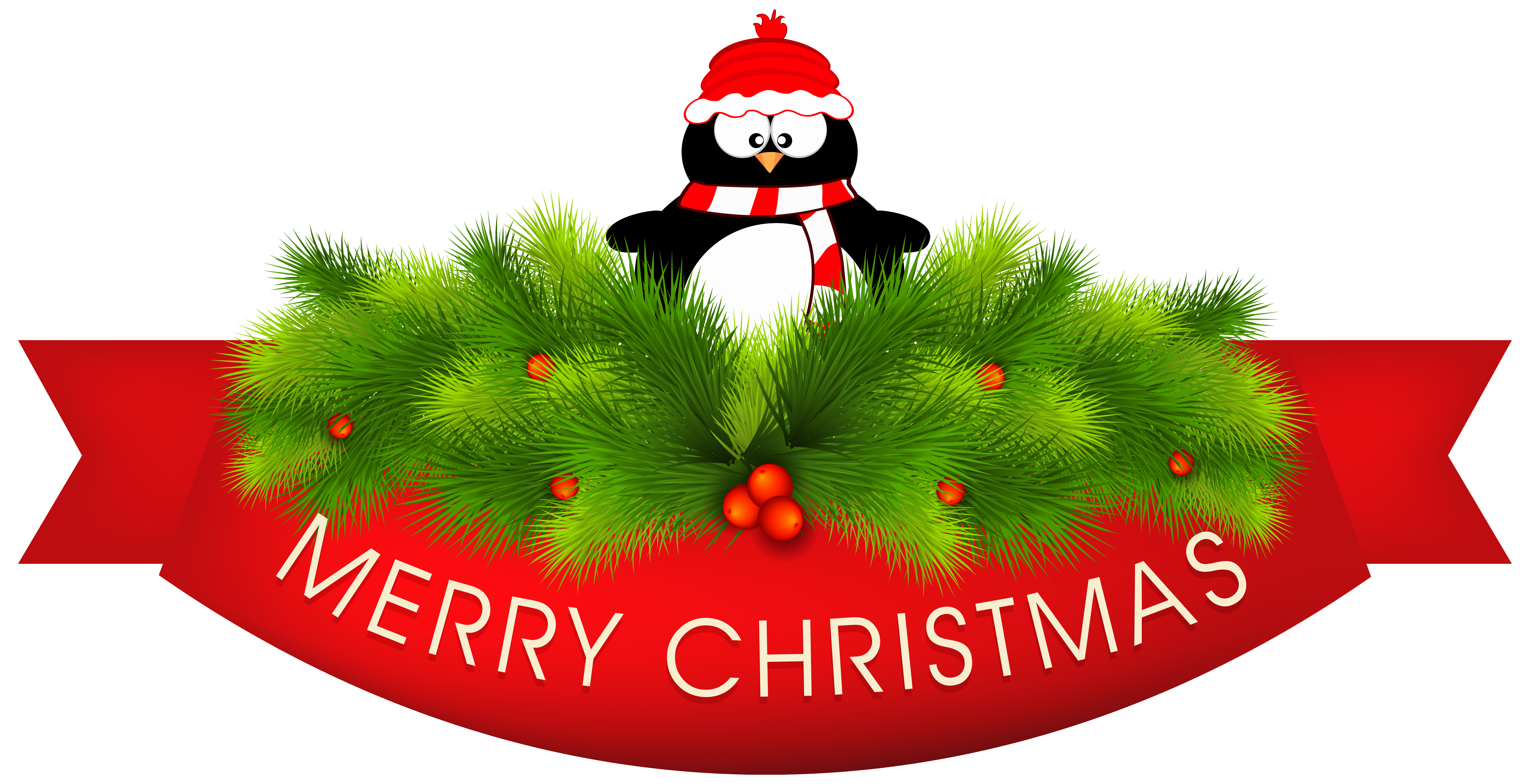 Merry Christmas Decor with Penguin PNG Clipart Image.