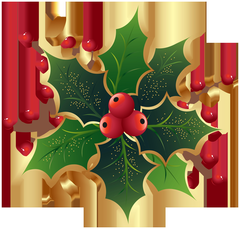Christmas Holly Mistletoe PNG Clip Art Image.