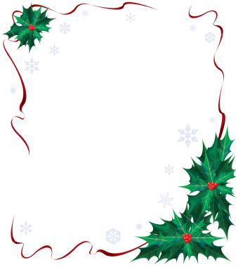Christmas borders christmas holly clip art borders happy holidays.