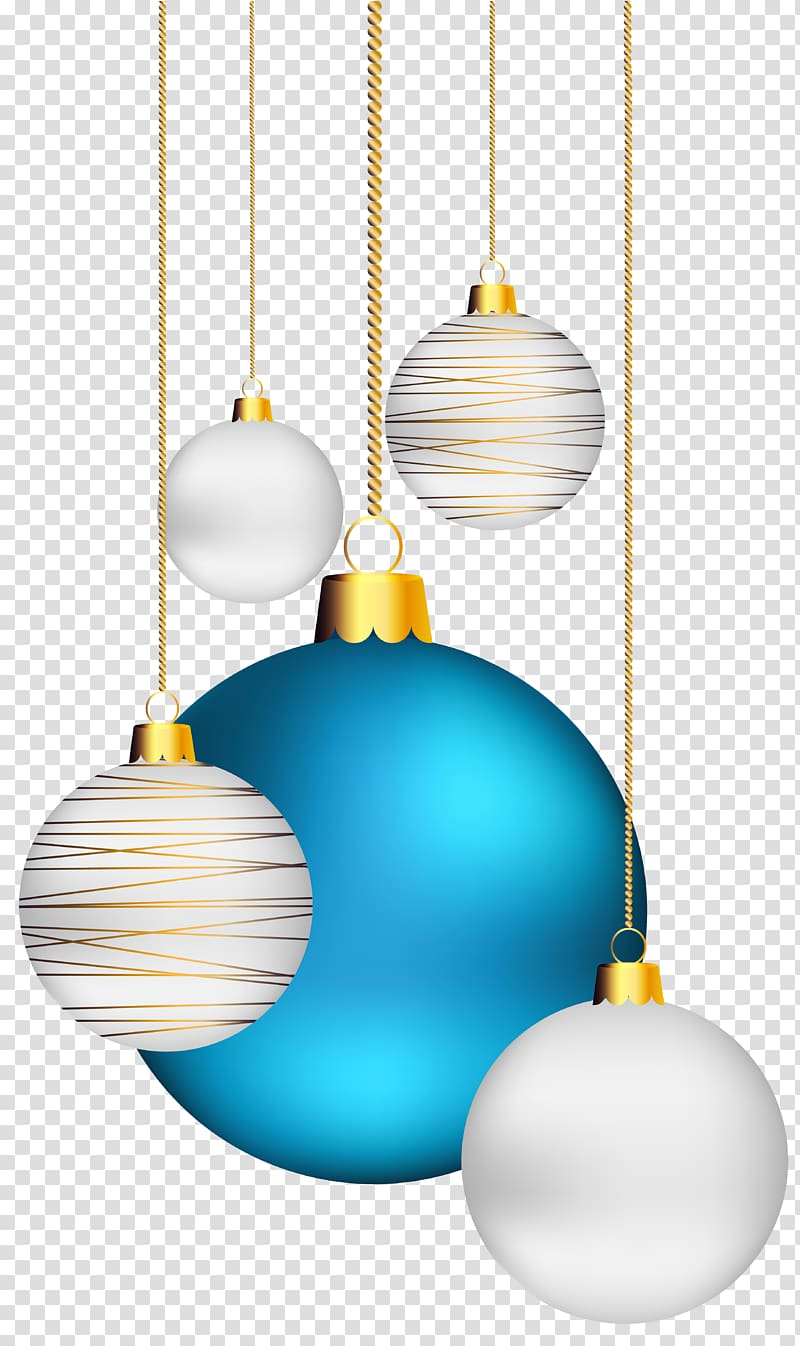 Several blue and silver baubles illustration, Christmas ornament.