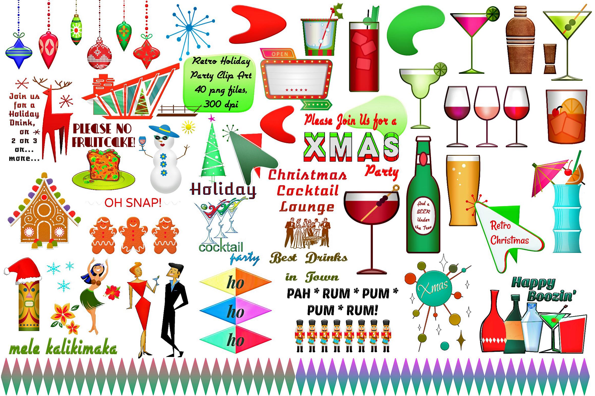 Mid Century Retro Christmas Party Clip Art..ATOMIC AGE.