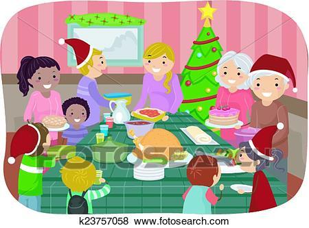 Stickman Christmas Party Clip Art.