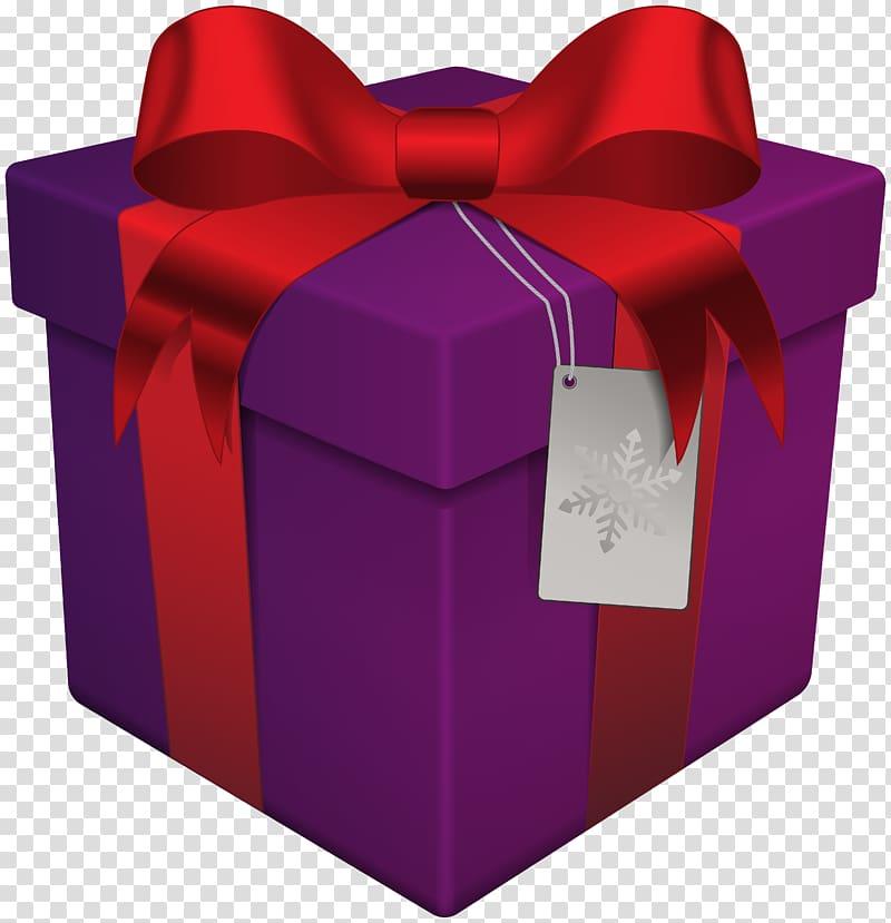 Christmas gift , Christmas Gift Box Purple transparent background.