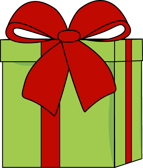 CHRISTMAS GREEN PRESENT WITH RED BOW, CLIP ART.