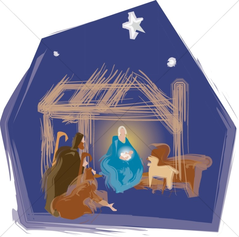 Nativity Scene with Stable Animals.