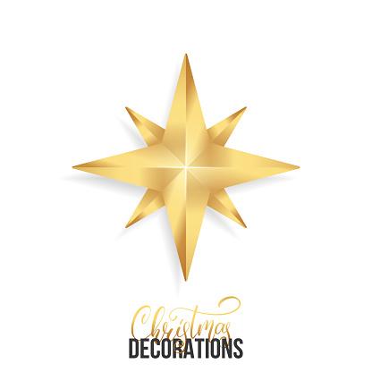 Christmas Star Shiny Gold Realistic Star Christmas Decoration Of Gold  Metallic Color Stock Illustration.