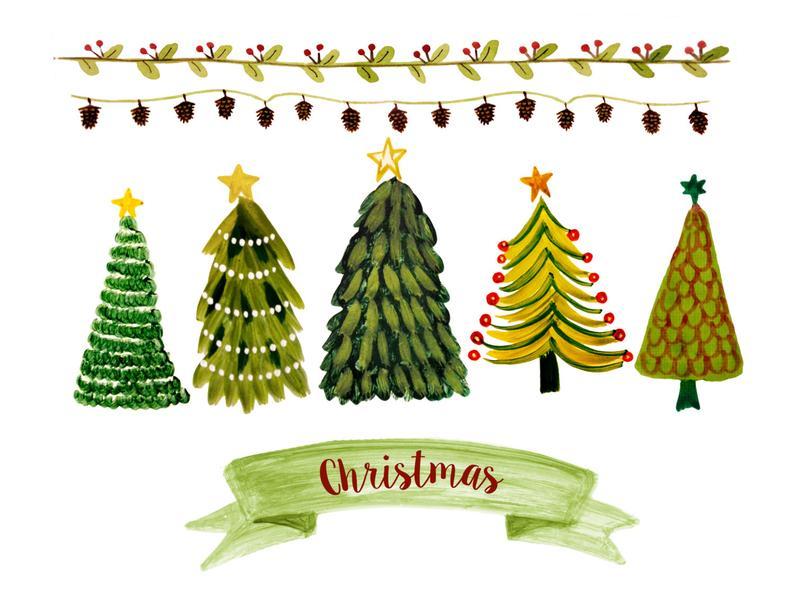 Christmas clipart, christmas tree clipart, christmas border clipart,  christmas tree, pinecone clipart.