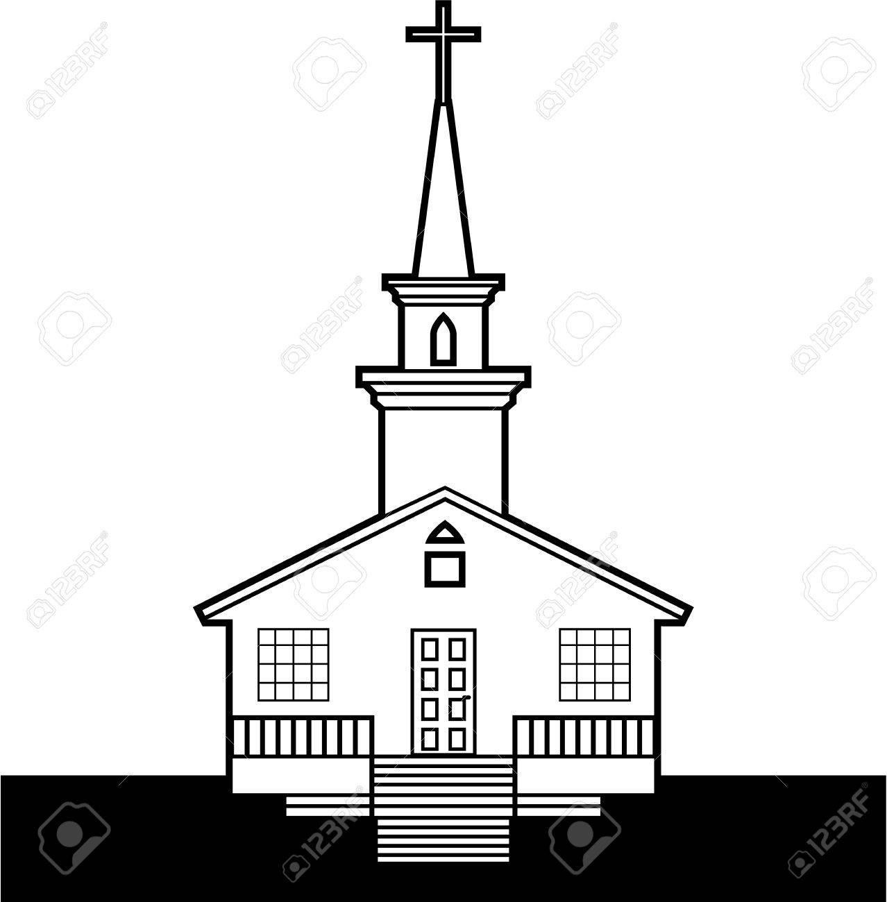 Black and white church vector clip.