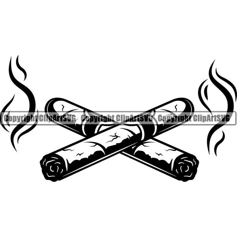 Cigars Crossed #1 Smoking Tobacco Smoke Blunt Bar Smoker Logo.SVG .EPS .PNG  Instant Digital Clipart Vector Cricut Cut Cutting Download File.