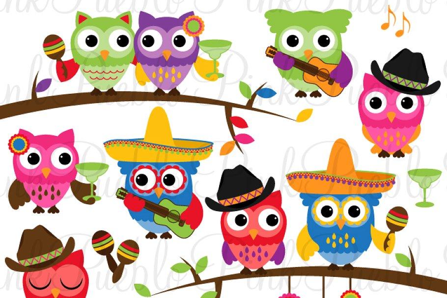 Cinco de Mayo Owls Clipart & Vectors.