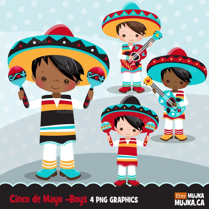 Cinco de Mayo clipart, Mexican mariachi musicians.