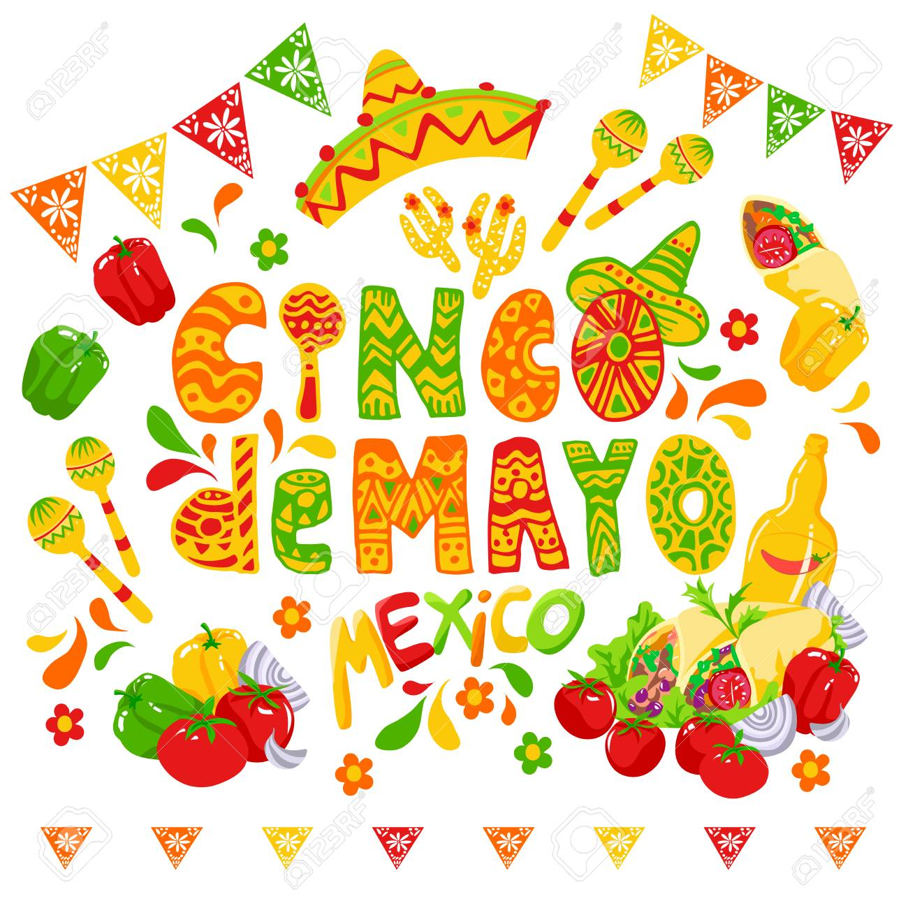 Cinco de mayo funny lettering with letters as maraca and wearing...