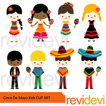 Cinco De Mayo Kids Clip Art.