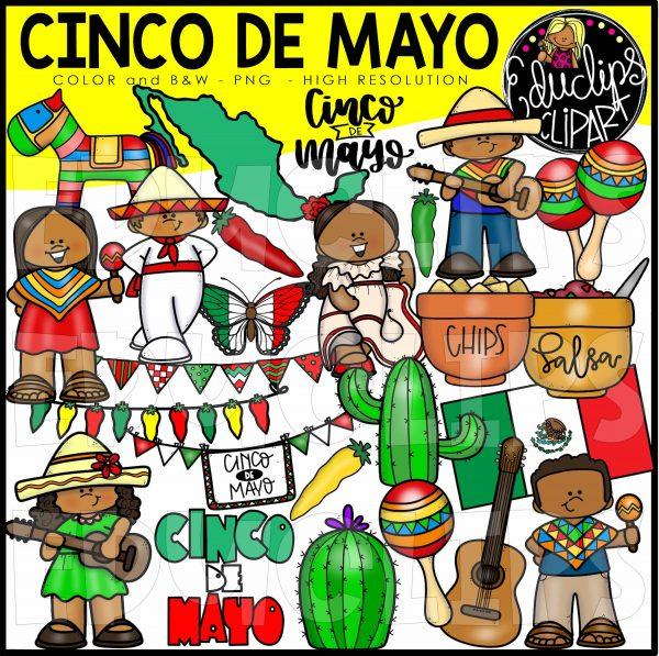 Cinco De Mayo Clip Art Bundle (Color and B&W).