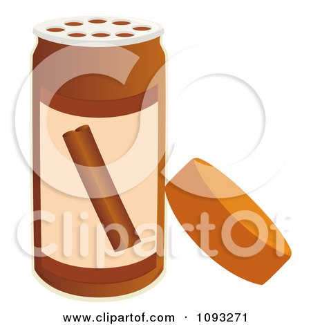 Clipart Open Spice Bottle Of Cinnamon Flavoring.