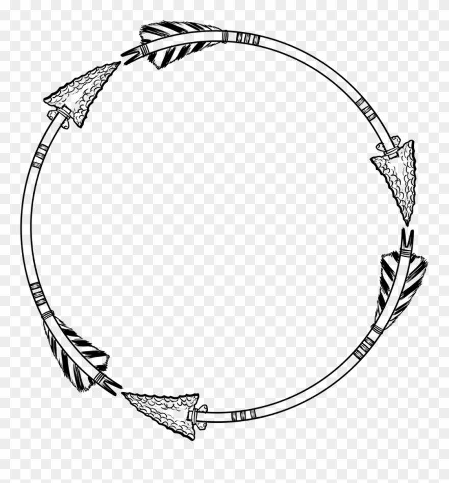 Arrow Arrows Wreath Circle Round Frame Border Line.