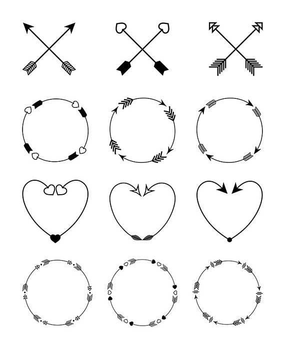 12 Arrows Clipart, Arrow Wreath Clipart, Rustic Arrow Clipart.