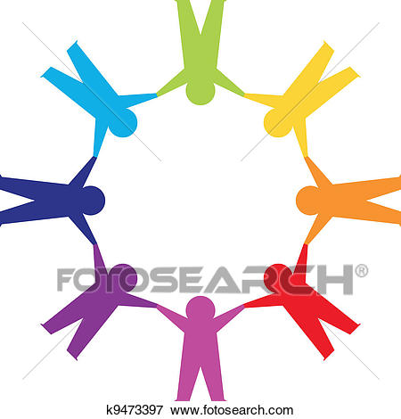 Paper people in circle holding hands Clip Art.