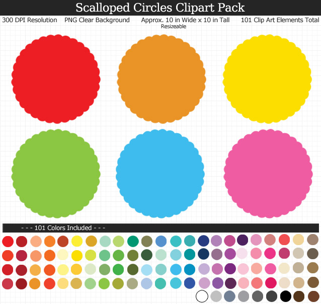 Scalloped Circles Clipart Pack.